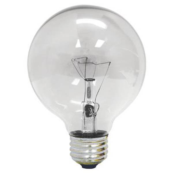 25 Watt G25 Medium Base Crystal Clear Globe Light Bulb