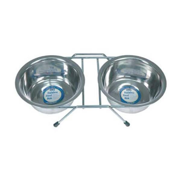 Double Diner Steel Pet Bowls With Rack