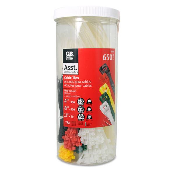 650 Piece Multi - Purpose Cable Tie Canister