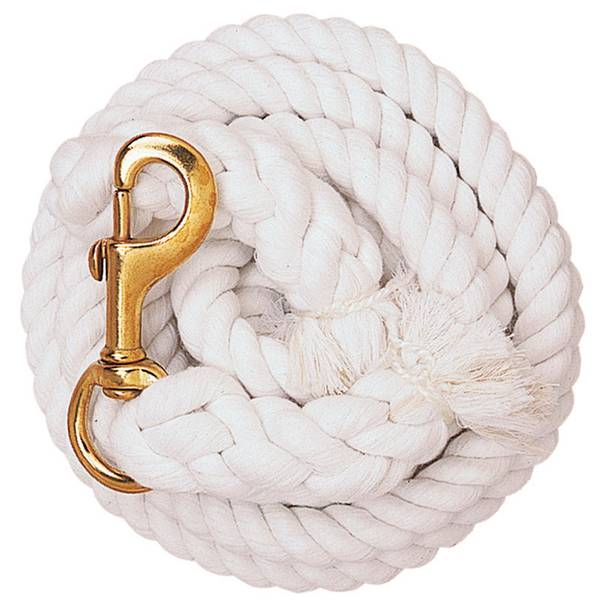 White Cotton Lead Rope with Solid Brass 225 Snap
