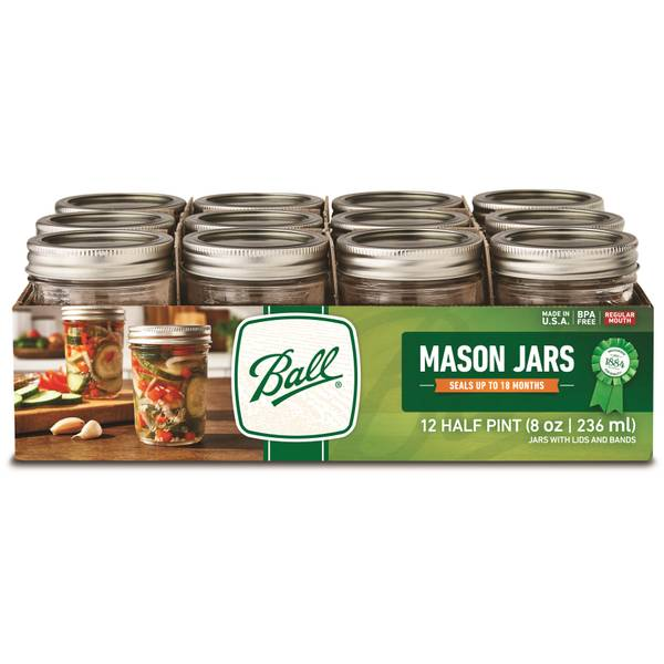 12 pk BALL Wide Mouth Canning Mason Jars Preserving Wedding w// LIDS Quart 32 oz
