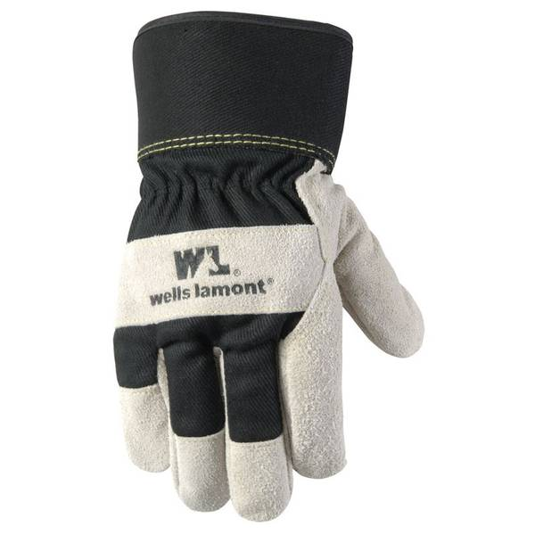 Cold Weather Lined Leather Palm Suede Cowhide Gloves