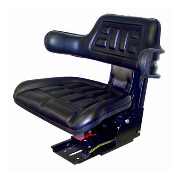 Black Universal Tractor Seat with Adjustable Suspension
