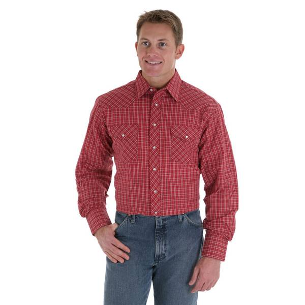 Tall Men's Plaid Western Shirt