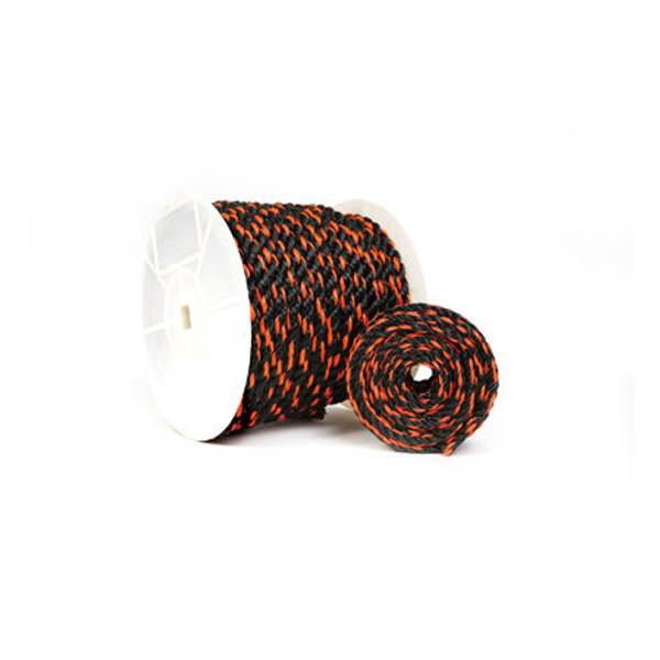 Twisted Orange / Black Poly Truck Rope, By The Foot