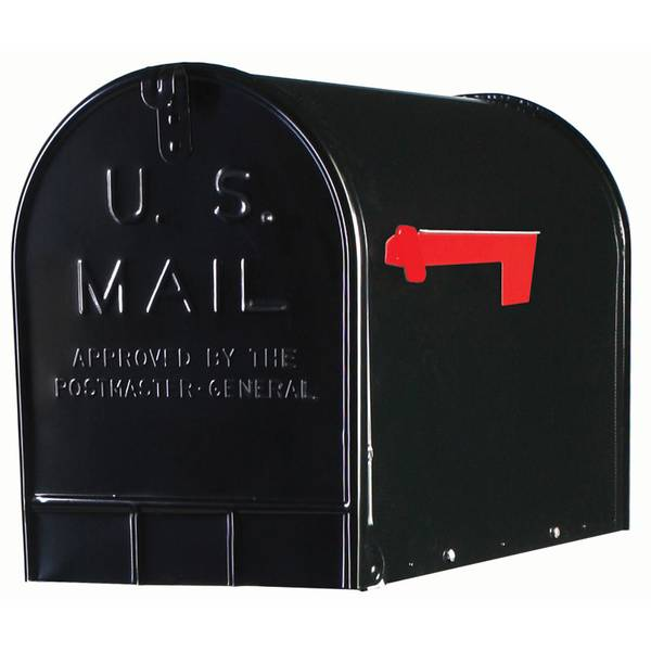 Elite Black Extra Large Galvanized Steel Mailbox