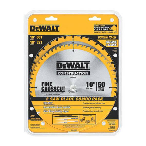Dewalt 10 Diameter Miter Table Saw Blade Combination Pack