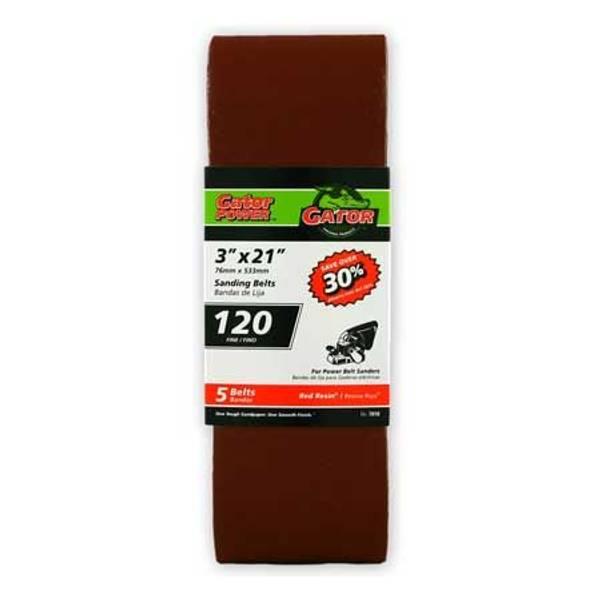"""3"""" x 21"""" Red Resin Sanding Belt 5 Pack"""