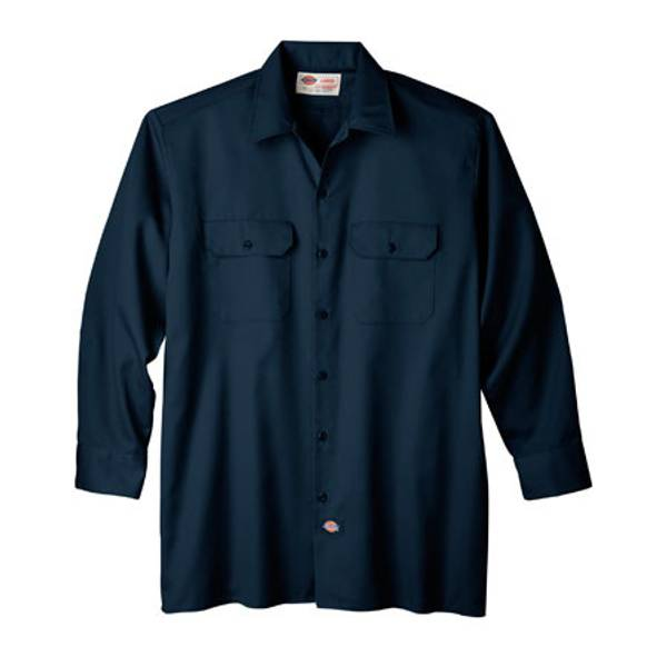 Men's Black Long - Sleeve Work Shirt