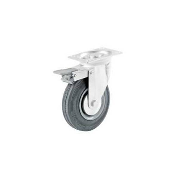 Semi - Elastic Rubber Caster with Brake