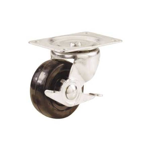 Rubber Wheel Caster with Side Brake