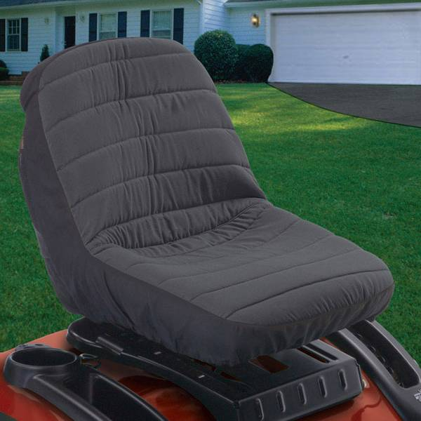 Tractor Seat Cover, Black and Gray, Medium