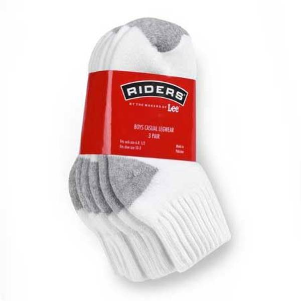 Boys' White with Gray Quarter Socks 3 Pack