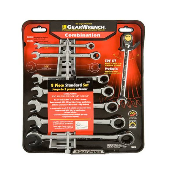 8 Piece Ratcheting Combination Wrench Set