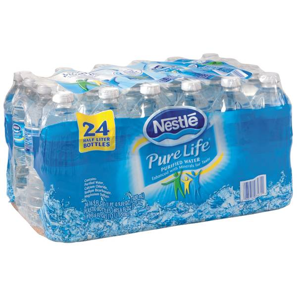Pure Life 24 Pack Bottled Water Half Liter Bottle