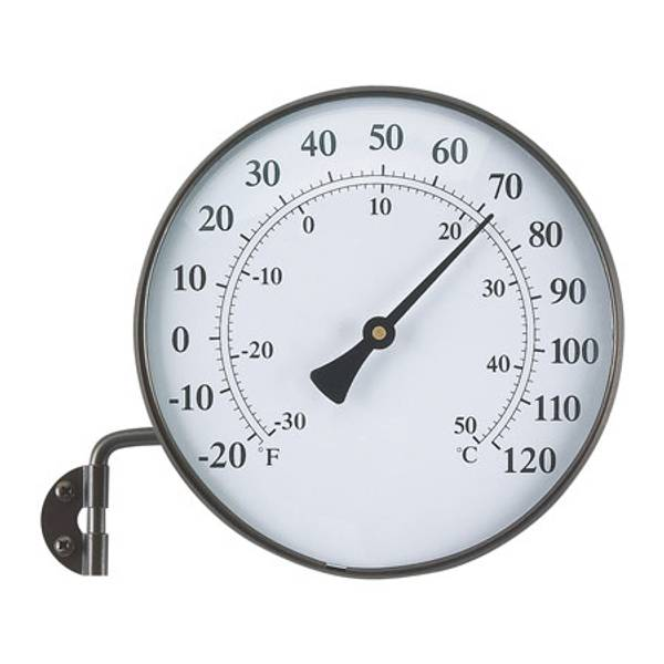 Brass Finish Thermometer with Wall Bracket