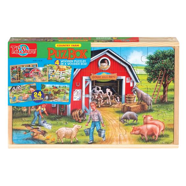 Farm Large Puzzles in a Wooden Box Assortment