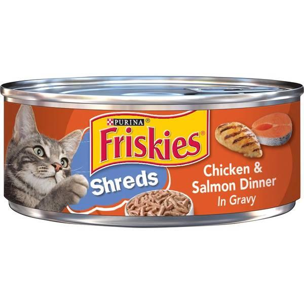 Shreds Chicken & Salmon Dinner In Gravy