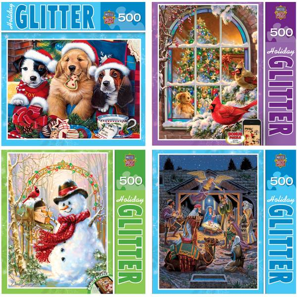 Holy Night Holiday Glitter Jigsaw Puzzle Assortment