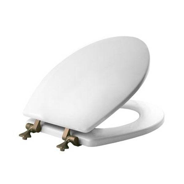 Round Toilet Seat with Brushed Nickel Hinges