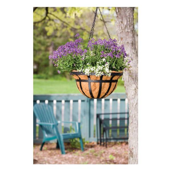 14 inch Round Flat iron Hanging Basket