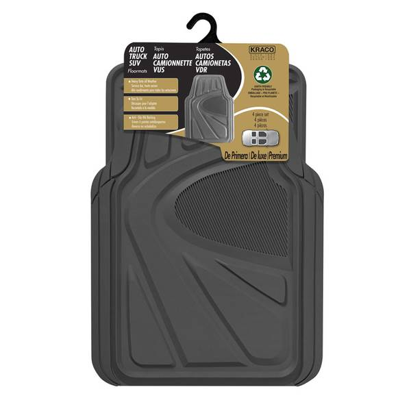 R5704GREY 4-Piece Trimmable Rubber Floor Mat Set