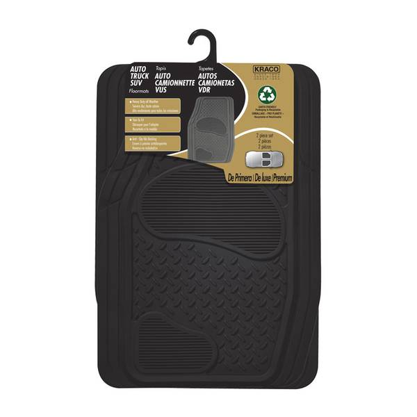 Premium 2-Piece Rubber Diamond Plate Truck and Sport Utility Vehicle Mat Set with Nib Backing