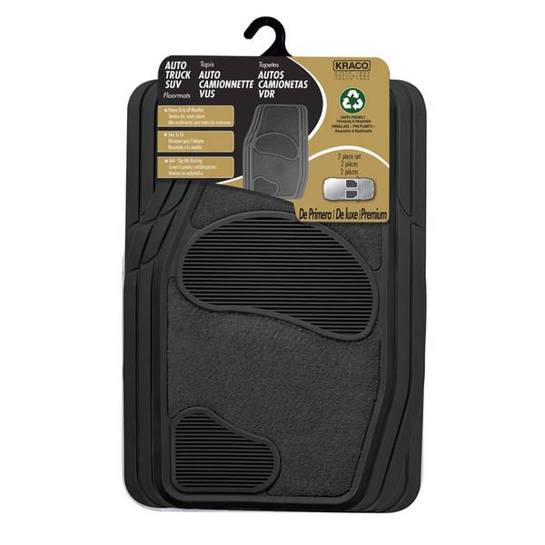 2-Piece Premium Carpet and Rubber Truck and Sport Utility Vehicle Mat Set with Nib Backing