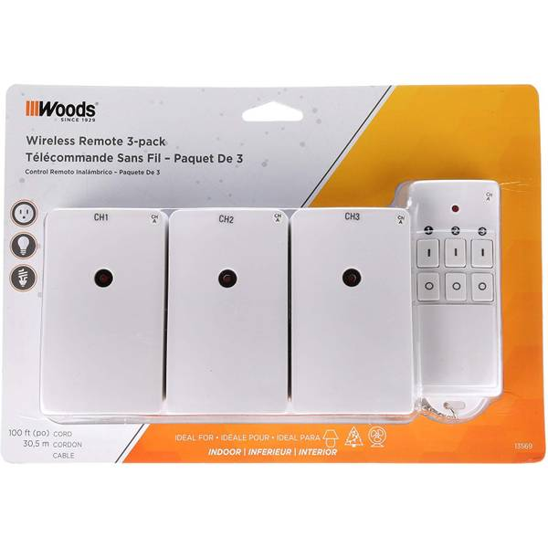 Woods Indoor Wireless Remote Outlets 3 Pack