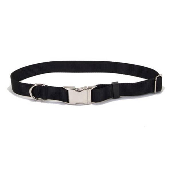 Adjustable Black Nylon Collar with Metal Buckle