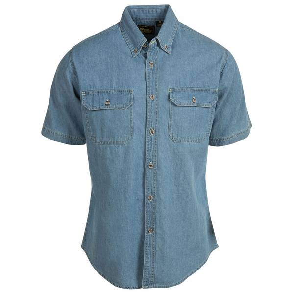 Men's Dark Wash Short Sleeve Denim Shirt