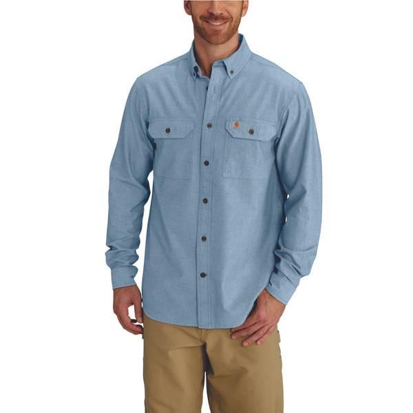 Men's Blue Chambray Long Sleeve Shirt