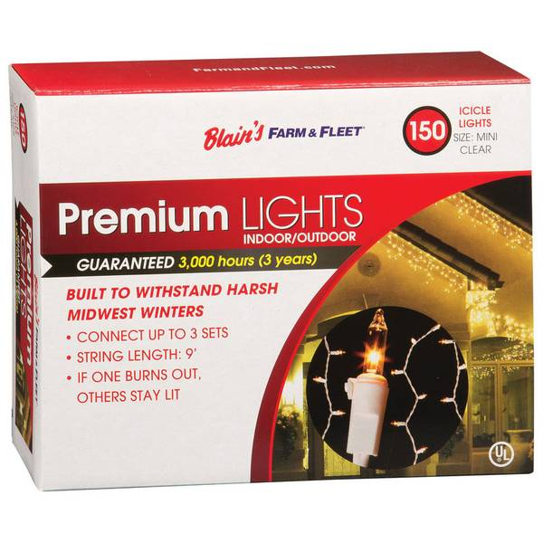 Premium 150-Light Indoor & Outdoor Clear Icicle Lights