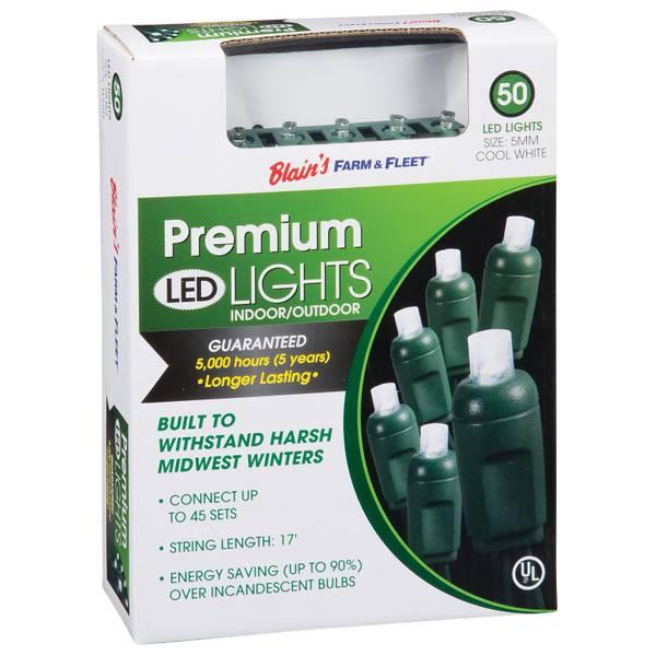 Premium Cool White 50-Light LED Light Set