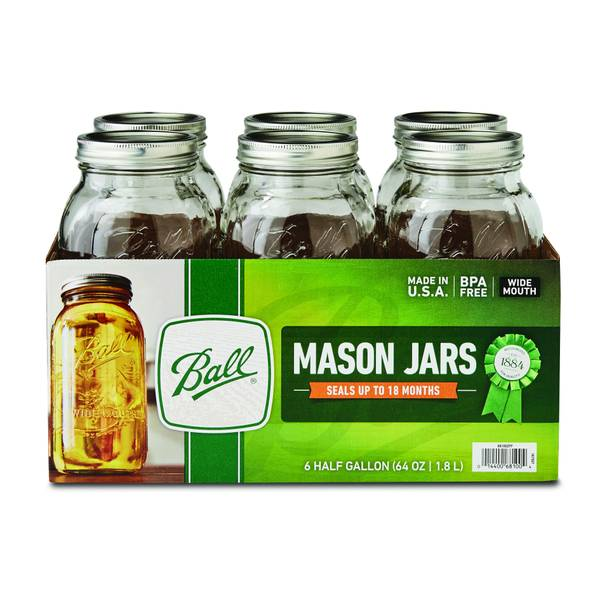 Wide Mouth 1/2 Gallon Mason Jars 6 Pack