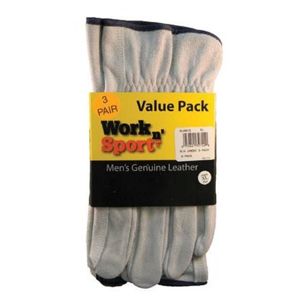 Men's  Leather Split Unlined Work Gloves - 3 Pack