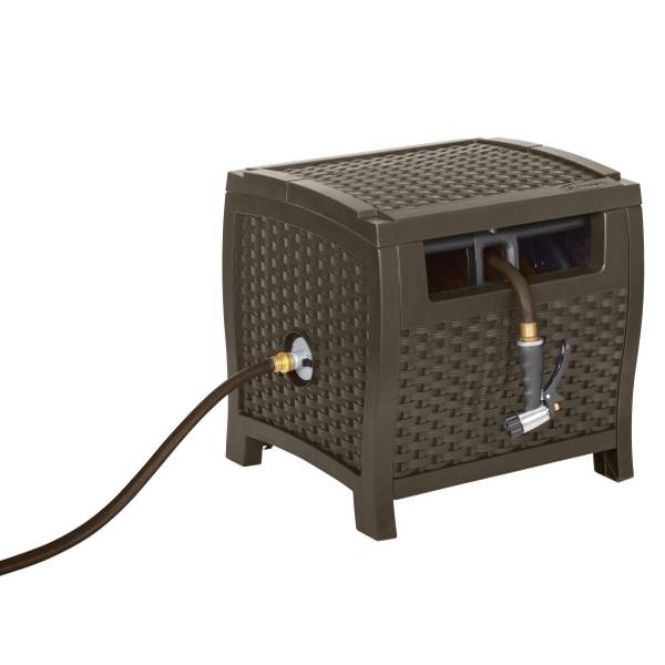 Resin Wicker Hideaway Hose Reel