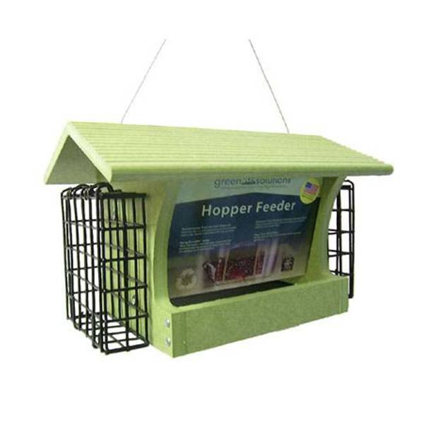 Green Solutions Recycled Medium Hopper Bird Feeder with Suet Cages (674310 GSHF200S) photo