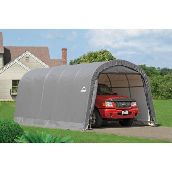 Menards Portable Carports : Shelterlogic round top gray garage in a box