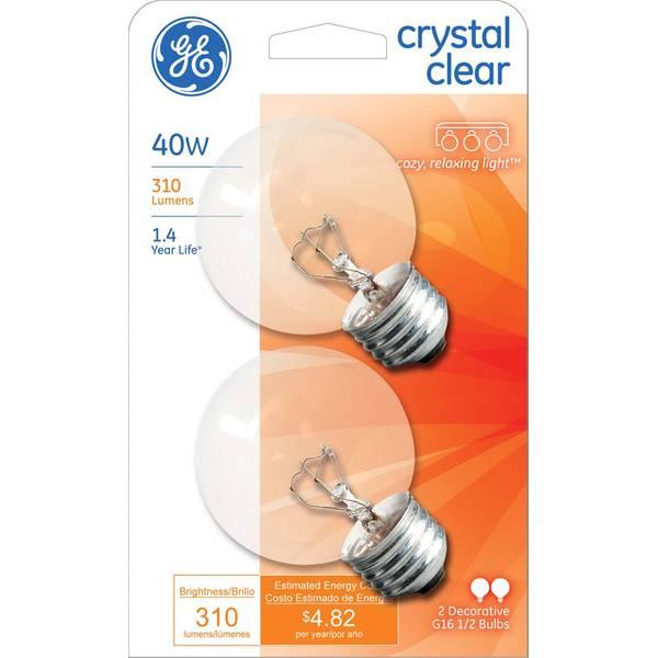Crystal Clear Vanity Globe Light Bulb 2 Pack