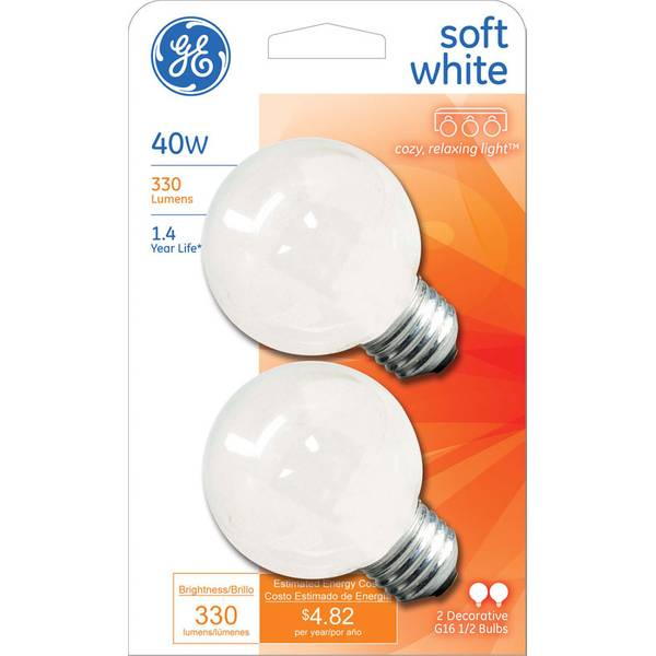 Soft White Globe Light Bulb 2 Pack