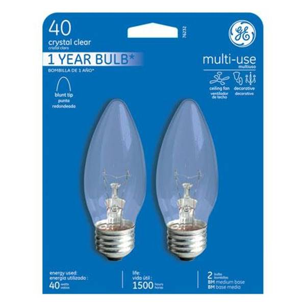 Crystal Clear Multi Purpose Blunt Tip Light Bulb 2 Pack
