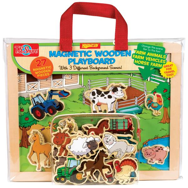 Farm Animals & Vehicles Magnetic Wooden Playboard Set