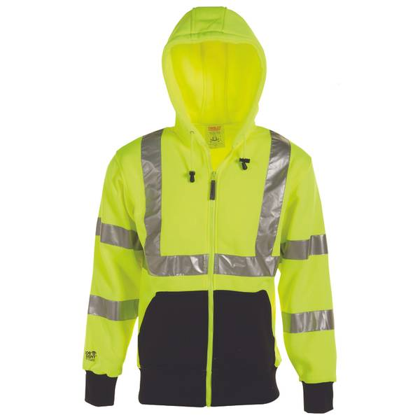 Men's Job Sight High Visibility ANSI 107 Class 3 Hooded Sweatshirt