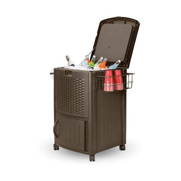 Resin Wicker Patio Cooler on Wheels