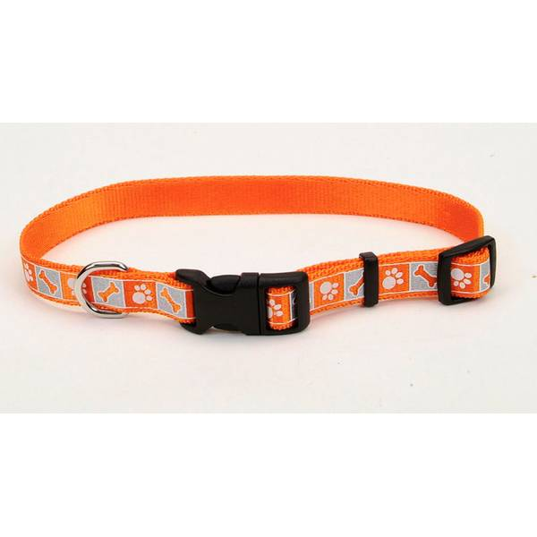 Orange Reflective Design Adjustable Nylon Collar