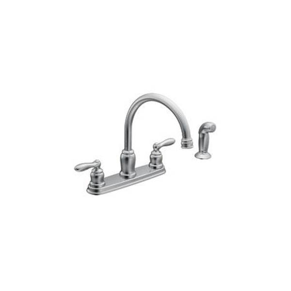 moen caldwell high arc double handle kitchen faucet