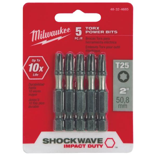 "SHOCKWAVE 2"" Power Bit TORX T25 5 Pack"