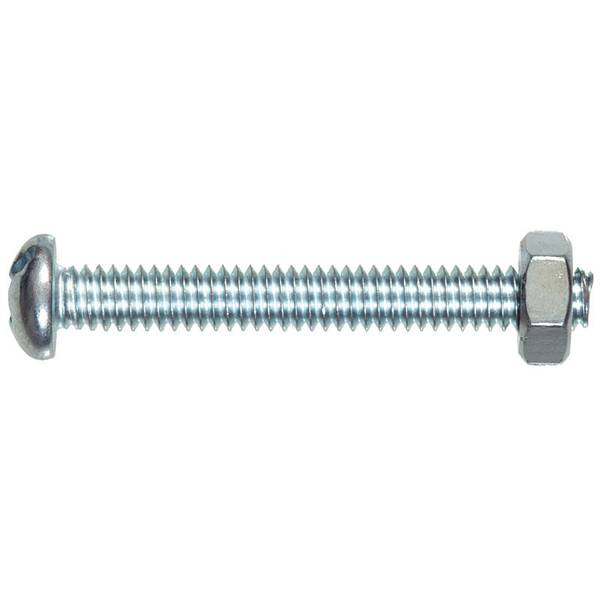 "10-32 x 3/4"" Round Head Slotted Machine Screw with Nuts"