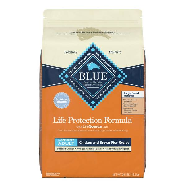Blue buffalo large breed chicken brown rice life for Blue buffalo fish and brown rice